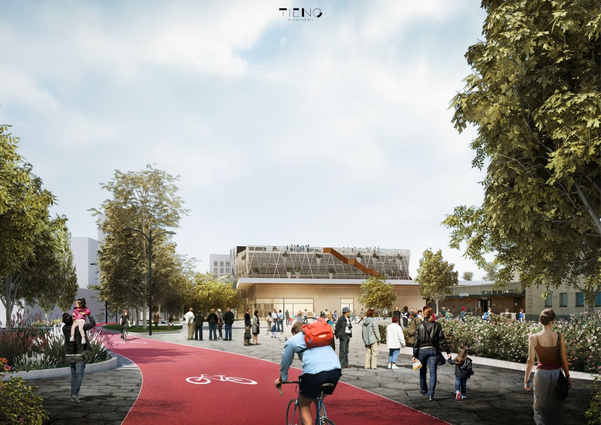 Havainnekuvassa esitetään alueen keskelle tuleva puistokäytävä, johon tulee erilliset kaistata pyöräilijöille ja kävelijöille