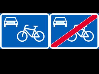 Kuva pyöräkatu alkaa ja pyöräkatu päättyy -liikennemerkeistä.