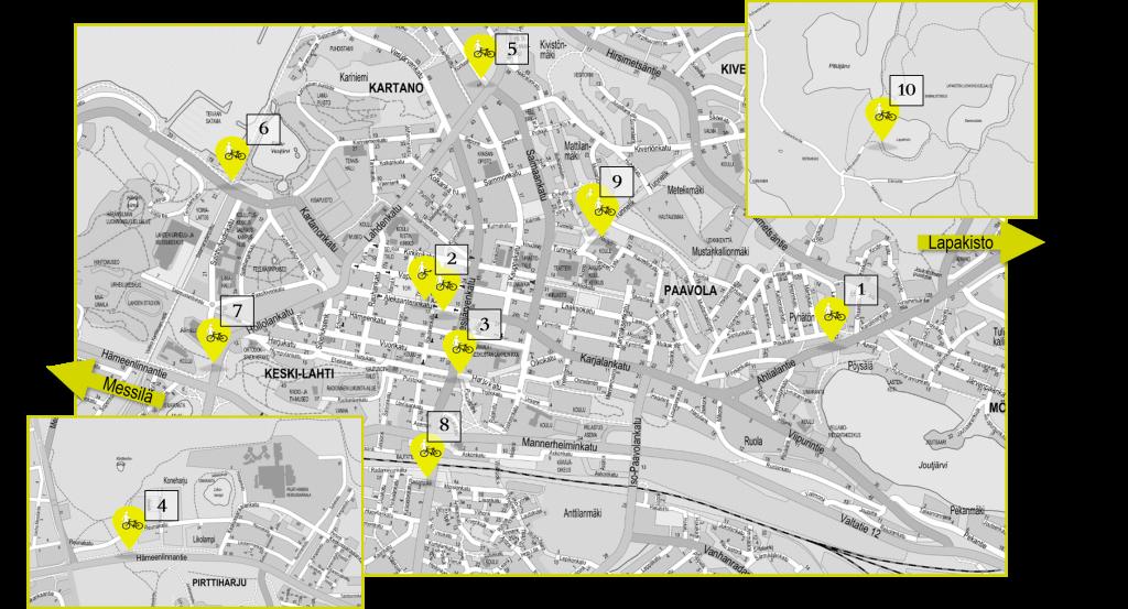 Liikennelaskureiden sijainnit kartalla.
