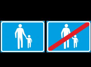 Kuva kävelykatu ja kävelykatu päättyy -liikennemerkeistä.
