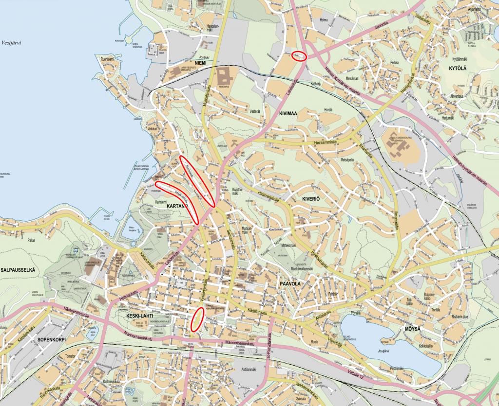 Karttakuva, johon on merkattu urapaikkauksien sijainnit.