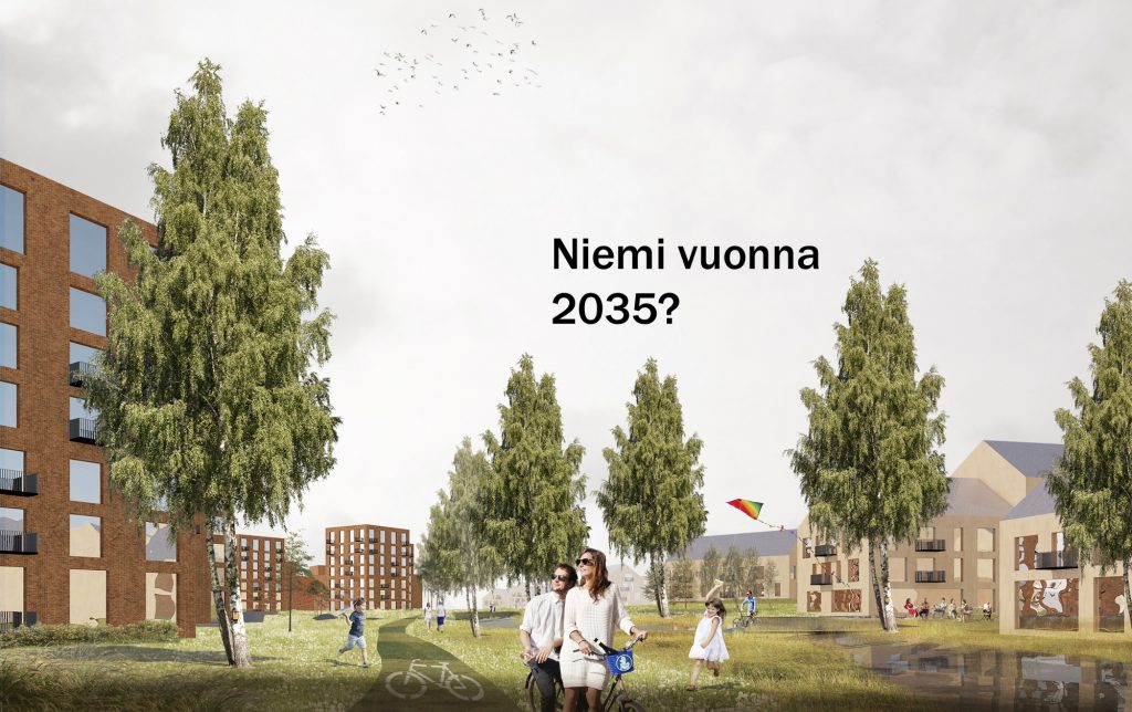 Havainnekuva Niemestä, jossa puiston ympärillä on uusia rakennuksia. Puiston läpi kulkee kävely- ja pyöräilyväylä.