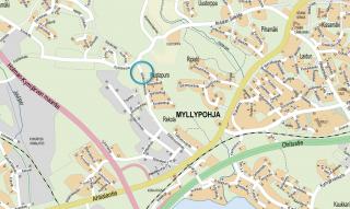 Kiiliäisvuorenkadun jatkeen sijainti kartalla Kiiliäisvuorenkadun ja Kyltölänkadun välissä.