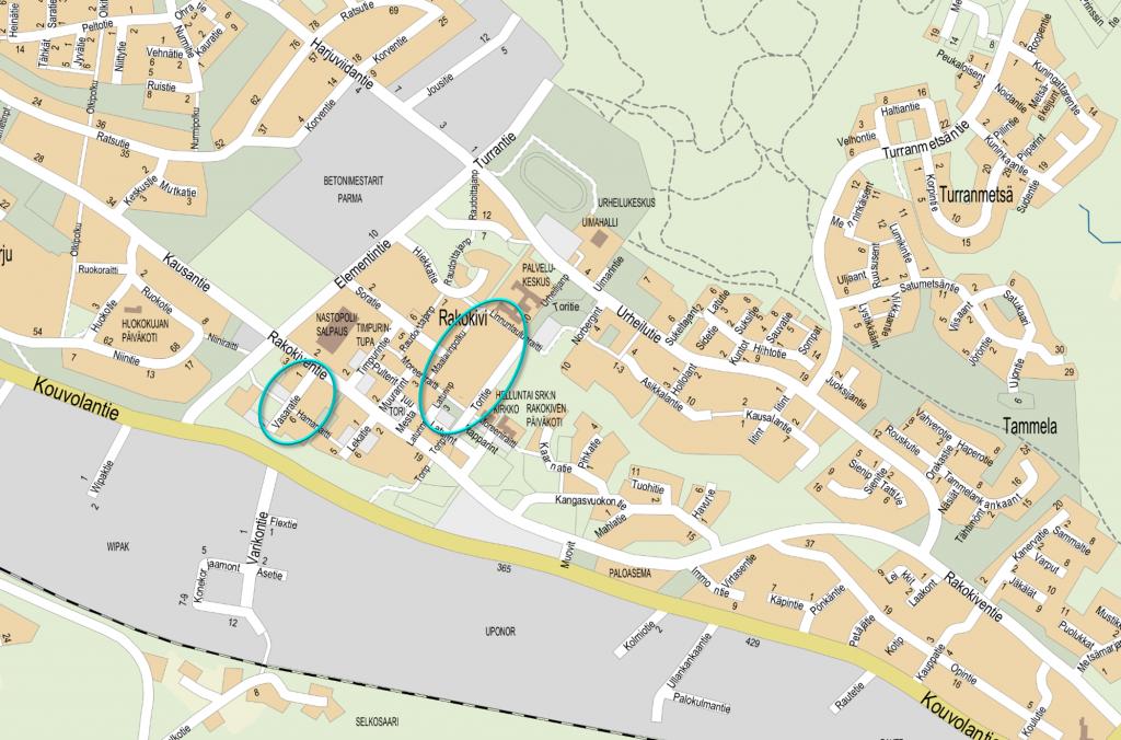 Rakokiven kaupunginosassa sijaitsevan Vasaratien ja Rakokiven monitoimitalon ympäristön raittien sijainti kartalla osoitettuna.