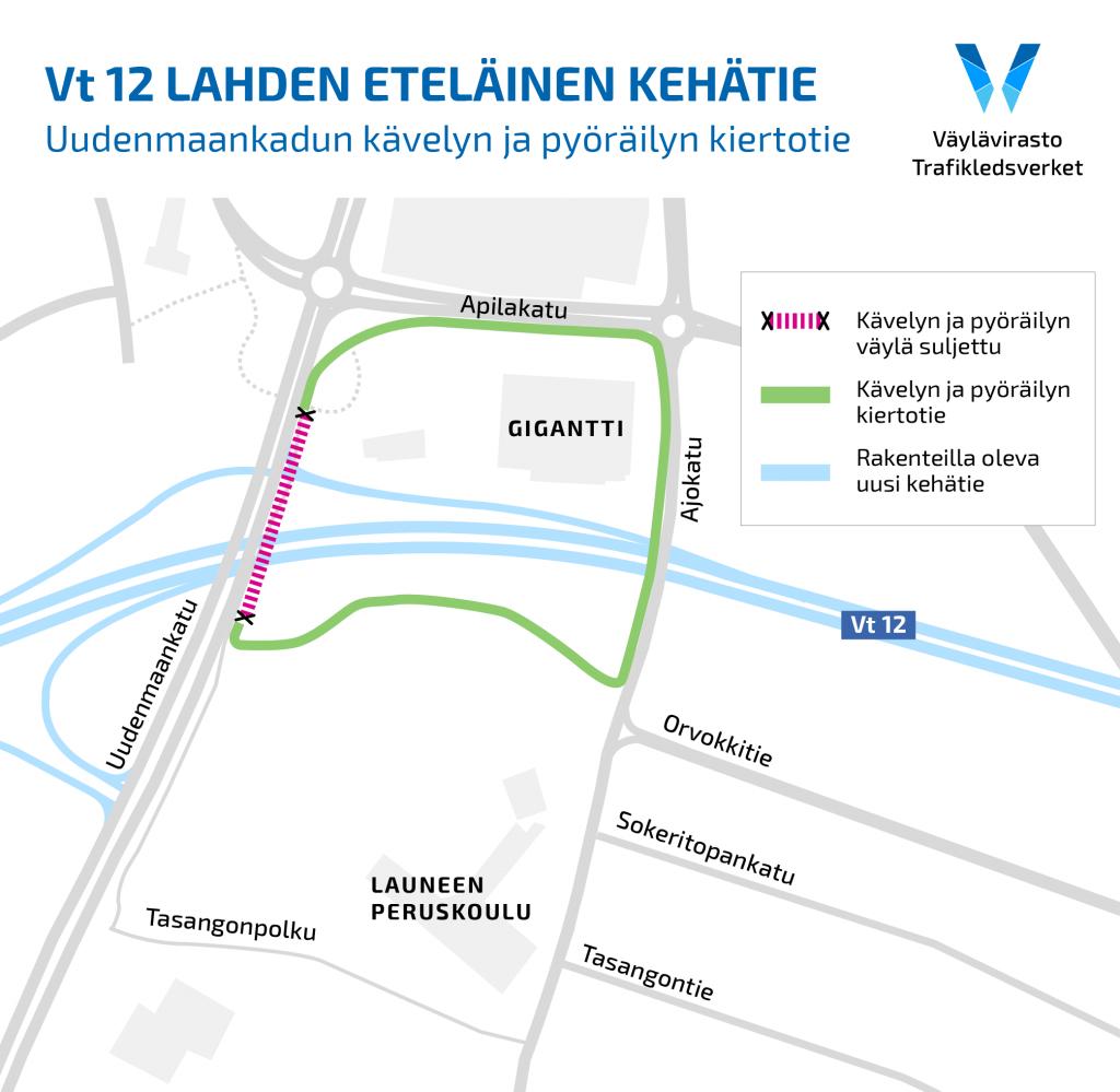 Karttakuva, jossa Launeen silta Uudenmaankadulla on merkattu suljetuksi ja kävelyn sekä pyöräilyn kiertoreitti on ohjattu Ajokadun sillan kautta.