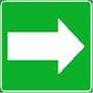 Polkumerkki, jossa vihreällä pohjalla oleva valkoinen nuolisymboli.