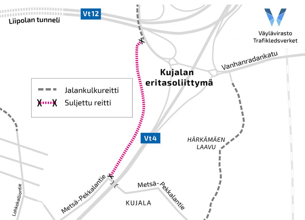 Yksinkertaistettu karttakuva suljetun ulkoilureitin sijainnista Metsä-Pekkalan alikulun ja Vanhanradankadun välissä.