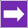 Polkumerkki, jossa violetilla pohjalla oleva valkoinen nuolisymboli.
