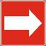 Polkumerkki, jossa punaisella pohjalla oleva valkoinen nuolisymboli.