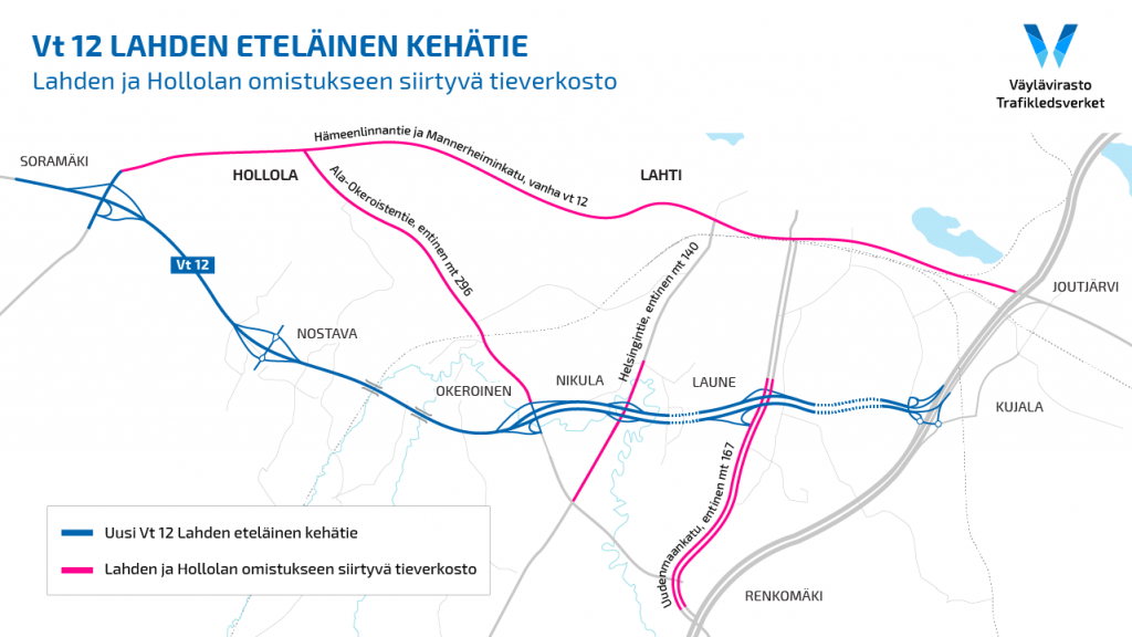 Alempaa maantieverkkoa siirtyy Lahden ja Hollolan omistukseen.