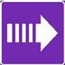 Polkumerkki, jossa violetilla pohjalla oleva valkoinen katkoviivainen nuolisymboli.