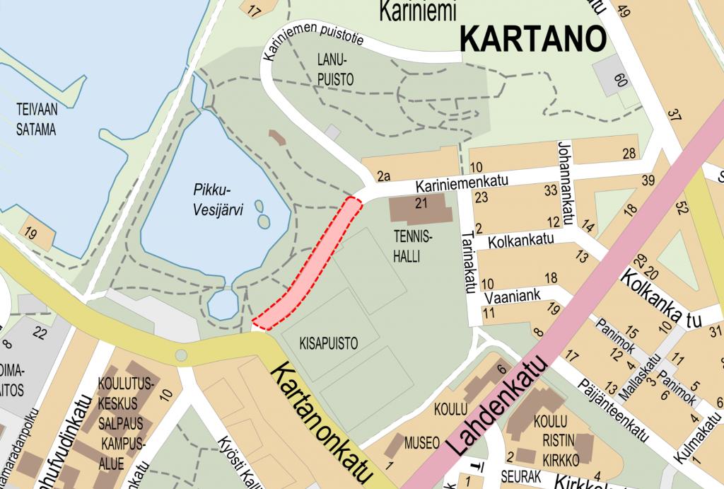Opaskarttaote Karinimenkadun ympäristöstä välillä Kartanonkatu ja Kariniemen puistokatu. Ajoneuvoliikententeeltä suljettu alue on merkattu kartalle punaisella katkoviivarajauksella.