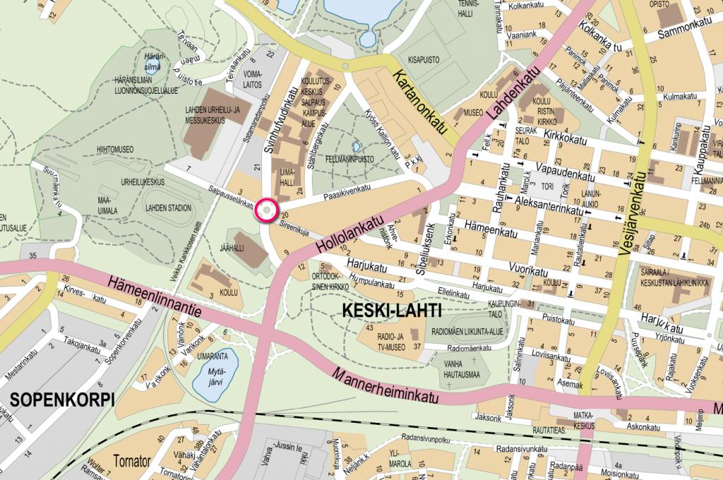 Opaskarttaote, johon Svinhufvudinkadun liikenneympyrän sijainti on merkattu punaisella ympyrällä.