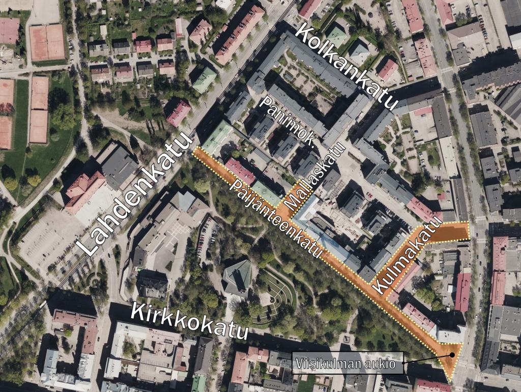 Ilmakuvakarttaote, jossa on rajauksella osoitettu Päijänteenkadun-Kulmakadun-Mallaskadun -työmaa-alueen laajuus.