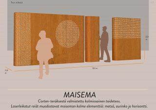 """Jere Määtän teosehdotus """"Maisema"""". Laseleikatut reiät muodostavat maiseman kolme elementtiä:  metsä, aurinko ja horisontti."""