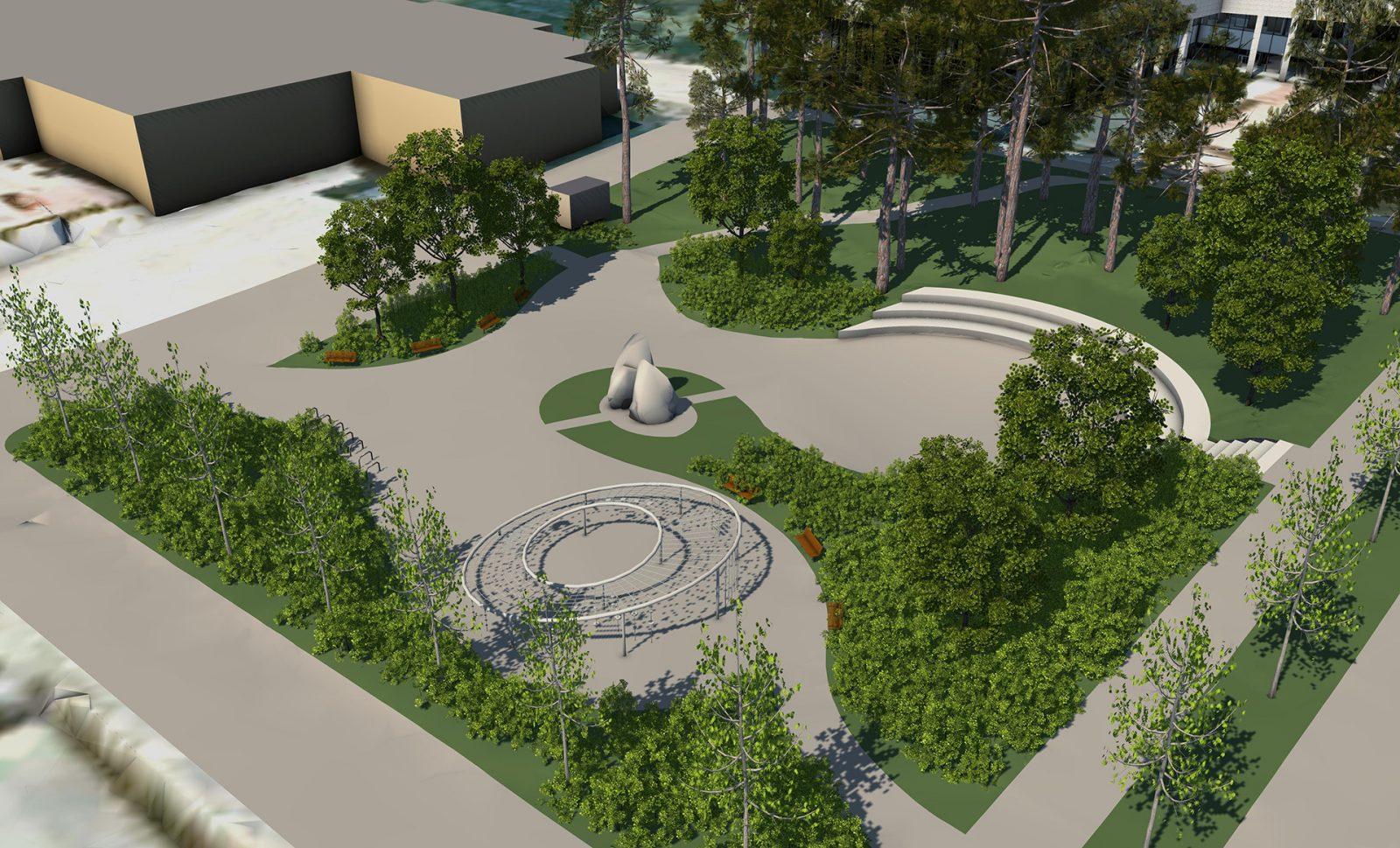 Havainnekuvassa on esitetty vehreä puisto, jossa on mäntyjä sekä keskellä kiviveistos.
