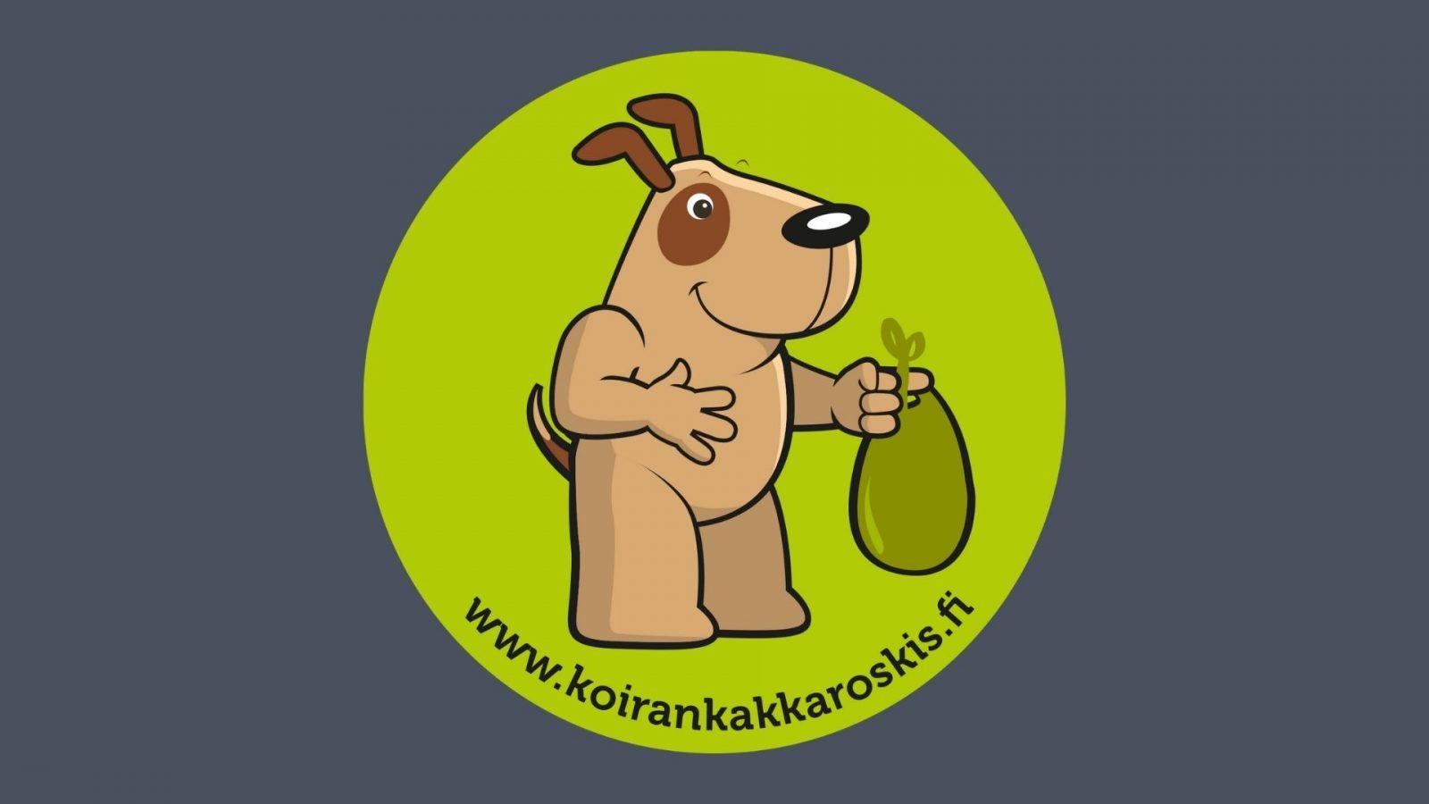 Koirankakkaroskiksen tunnus on jätöspussia kantava koira. Alla on teksti www.koirankakkaroskis.fi.