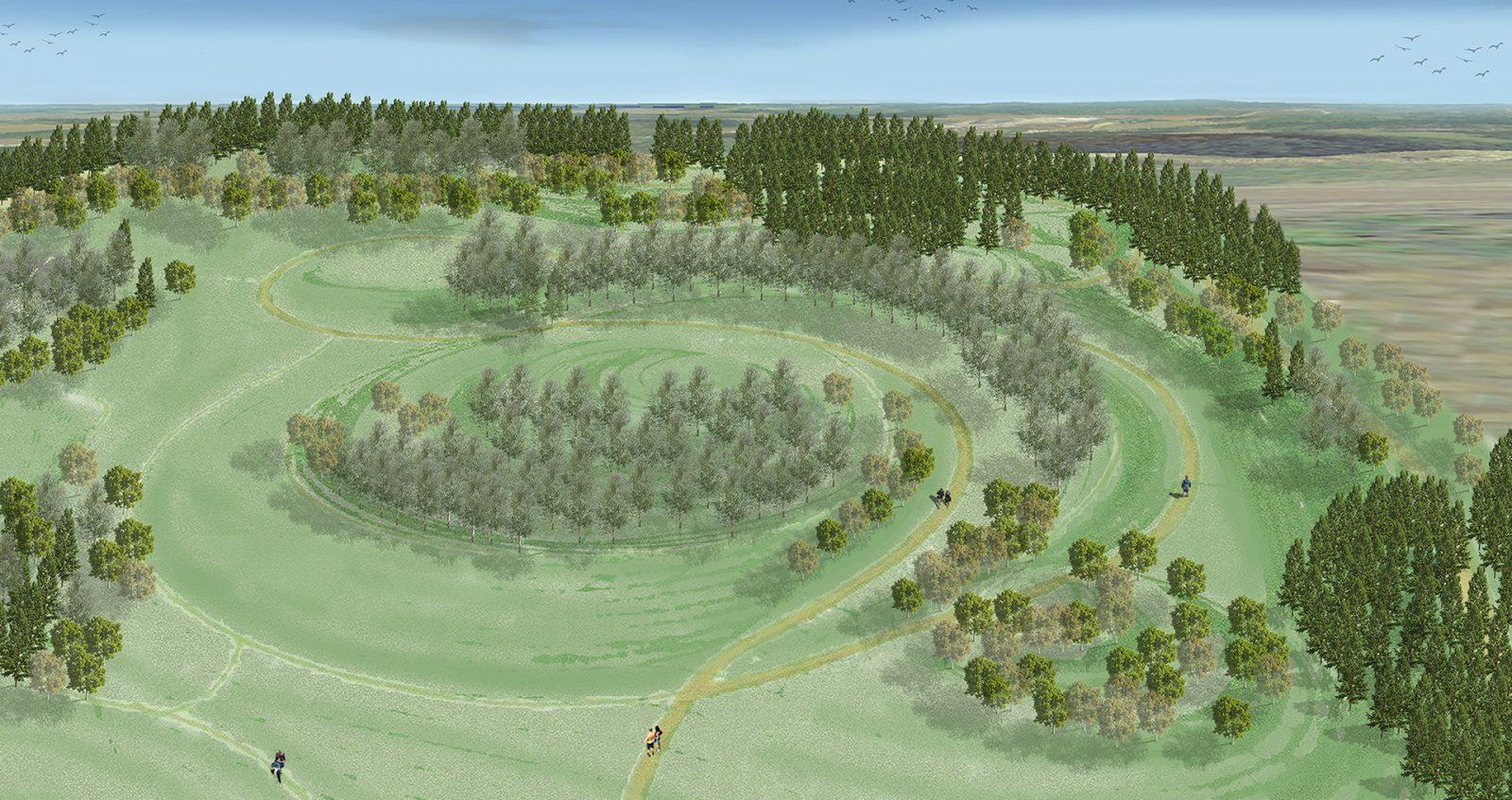 Havainnekuvassa polut muodostavat pyöreitä reittejä Rälssinmäelle.