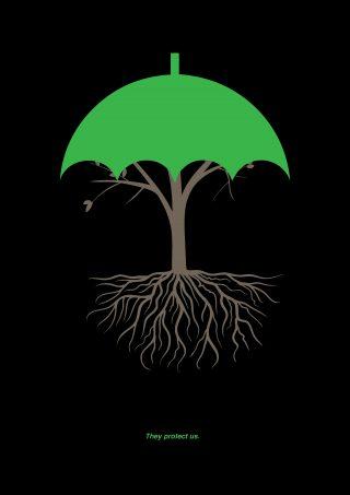 Julisteessa puun lehvästö muodostaa sateenvarjon rungon ja juuriston ympärille.