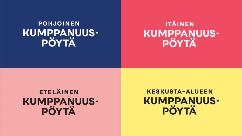 Kumppanuuspöydät tunnistaa niiden tunnusväreistä: pohjoinen kumppanuuspöytä sininen, itäinen kumppanuuspöytä punainen, eteläinen kumppanuuspöytä vaaleanpunainen, keskusta-alueen kumppanuuspöytä keltainen