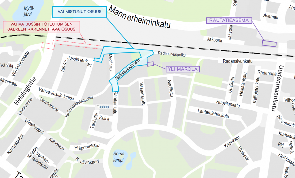 Yksinkertaistettu karttakuva Teräsmuorinraitin sijainnista ja vaiheistuksesta.
